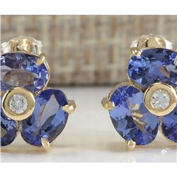 3.06 CTW Natural Blue Tanzanite And Diamond Earrings In 14K Yellow Gold