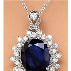 5.25 CTW Natural Sapphire 18K Solid White Gold Diamond Pendant Necklace