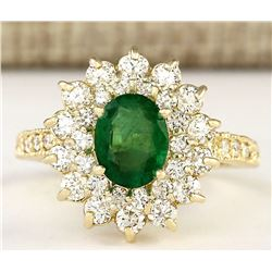 2.66 CTW Natural Emerald And Diamond Ring In 14k Yellow Gold