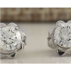 0.55 CTW Natural Diamond Earrings 14K Solid White Gold