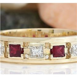 1.30 CTW Natural Ruby 18K Solid Yellow Gold Diamond Ring