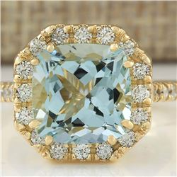 4.72 CTW Natural Aquamarine And Diamond Ring In 18K Yellow Gold