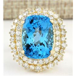 15.64 CTW Natural Blue Topaz And Diamond Ring In 14k Yellow Gold