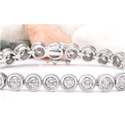 10.22 CTW Natural Diamond 18K Solid White Gold Bracelet
