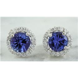 2.40 CTW Tanzanite 18K White Gold Diamond Earrings