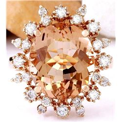 7.15 CTW Natural Morganite 18K Solid Rose Gold Diamond Ring