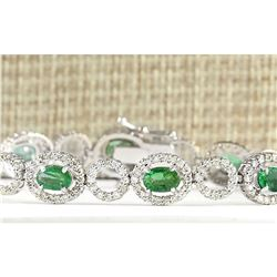 6.98 CTW Natural Emerald And Diamond Bracelet In 14K White Gold