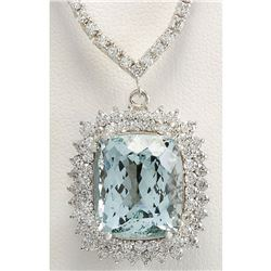19.05 CTW Natural Aquamarine And Diamond Necklace In 14K White Gold