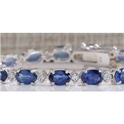 11.15CTW Natural Sapphire And Diamond Bracelet In 14K Solid White Gold