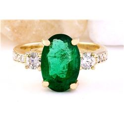 4.60 CTW Natural Emerald 18K Solid Yellow Gold Diamond Ring