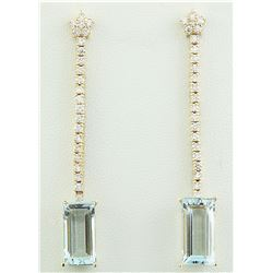 9.35 CTW Aquamarine 18K Yellow Gold Diamond Earrings
