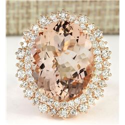 15.56 CTW Natural Morganite And Diamond Ring In 14k Rose Gold