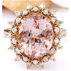 5.70 CTW Natural Morganite 18K Solid Rose Gold Diamond Ring