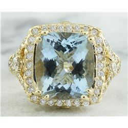 6.17 CTW Aquamarine 18K Yellow Gold Diamond Ring