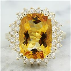 8.80 CTW Citrine 18K Yellow Gold Diamond Ring