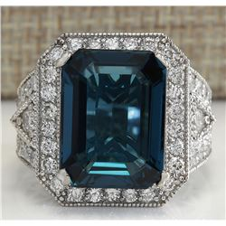 15.51CTW Natural London Blue Topaz And Diamond Ring In18K Solid White Gold