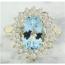 6.10 CTW Aquamarine 18K Yellow Gold Diamond Ring