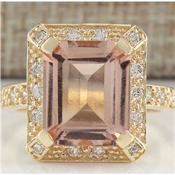 5.56 CTW Natural Morganite And Diamond Ring In 18K Solid Yellow Gold