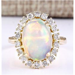 4.77 CTW Natural Opal And Diamond Ring In 14k Yellow Gold