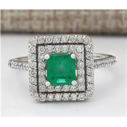 1.70 CTW Natural Emerald And Diamond Ring In 18K White Gold