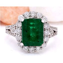 3.90 CTW Natural Emerald 18K Solid White Gold Diamond Ring