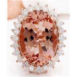 13.68 CTW Natural Morganite 18K Solid Rose Gold Diamond Ring