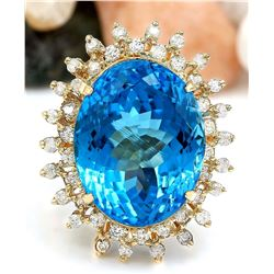 32.00 CTW Natural Topaz 18K Solid Yellow Gold Diamond Ring