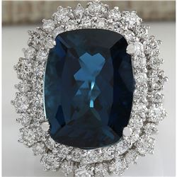 14.02CTW Natural London Blue Topaz And Diamond Ring In18K Solid White Gold