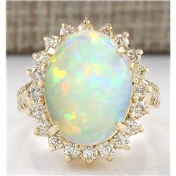6.48 CTW Natural Opal And Diamond Ring In 18K Yellow Gold