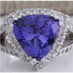 7.72 CTW Natural Blue Tanzanite And Diamond Ring 18K Solid White Gold