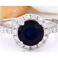 2.35 CTW Natural Sapphire 18K Solid White Gold Diamond Ring