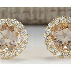 3.65 CTW Natural Morganite And Diamond Earrings 18K Solid Yellow Gold