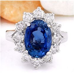 6.83 CTW Natural Ceylon Sapphire 18K Solid White Gold Diamond Ring