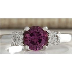 1.70 CTW Natural Pink Ceylon Sapphire Diamond Ring 18K Solid White Gold