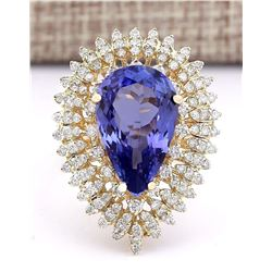 8.10 CTW Natural Tanzanite And Diamond Ring In 18K Yellow Gold