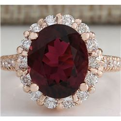 5.50 CTW Natural Pink Red Tourmaline And Diamond Ring 18K Solid Rose Gold