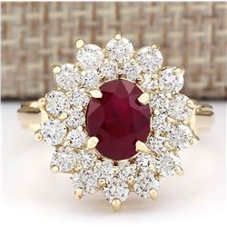 3.98 CTW Natural Ruby And Diamond Ring In 18K Yellow Gold