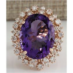 13.19 CTW Natural Amethyst And Diamond Ring In 14K Solid Rose Gold