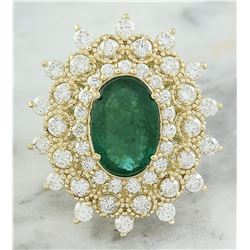 7.15 CTW Emerald 18K Yellow Gold Diamond Ring