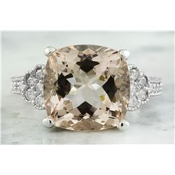7.85 CTW Morganite 14K White Gold Diamond Ring