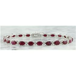 11.95 CTW Ruby 18K White Gold Diamond Bracelet
