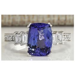 3.75 CTW Natural Blue Tanzanite And Diamond Ring In 14K White Gold
