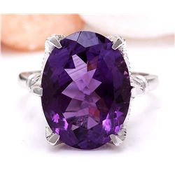 8.64 CTW Natural Amethyst 18K Solid White Gold Diamond Ring
