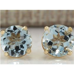 2.24 CTW Natural Blue Aquamarine Earrings In 18K Yellow Gold