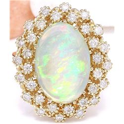 5.70 CTW Natural Opal 18K Solid Yellow Gold Diamond Ring