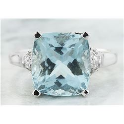 5.50 CTW Aquamarine 14K White Gold Diamond Ring
