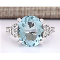 5.89 CTW Natural Aquamarine And Diamond Ring In 14k White Gold