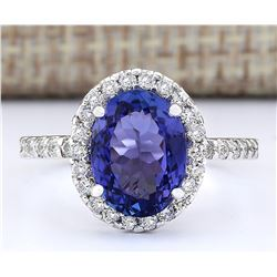 3.63 CTW Natural Blue Tanzanite And Diamond Ring 18K Solid White Gold