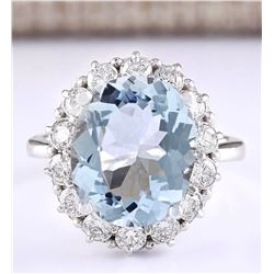 7.01 CTW Natural Aquamarine And Diamond Ring In 18K White Gold