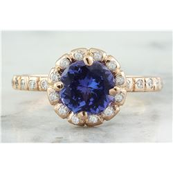 1.44 CTW Tanzanite 18K Rose Gold Diamond Ring